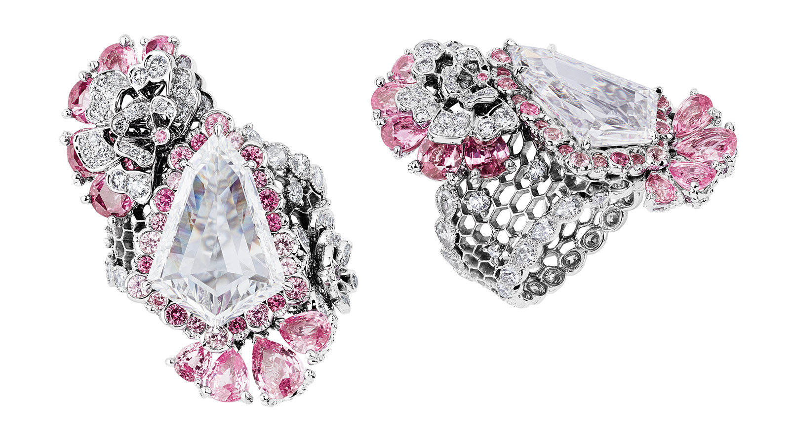Dior 'Dentelle Organza' ring from the 'Dior Dior Dior' collection, with 5.07ct shield / bullet cut diamond, pink sapphires and accenting diamonds