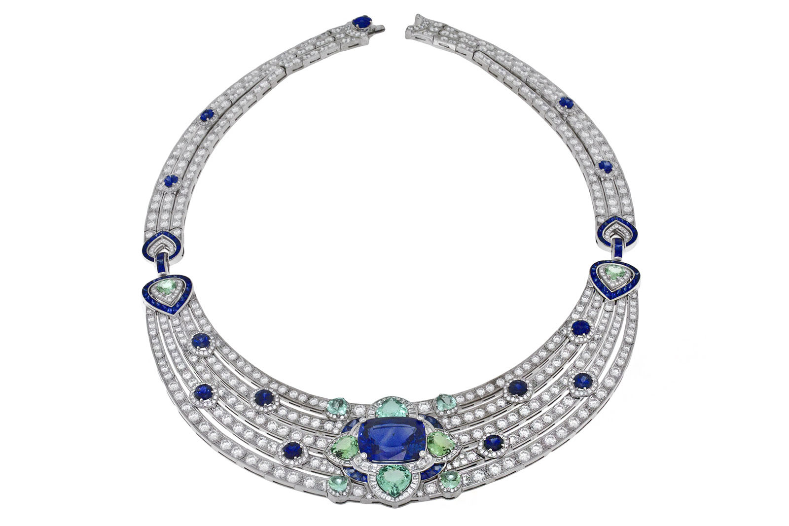Bvlgari 'Queen of Pop' necklace from 'Roaring 80s' line with 24.82ct cushion cut Sri Lankan sapphire, sapphires, tourmalines and diamonds