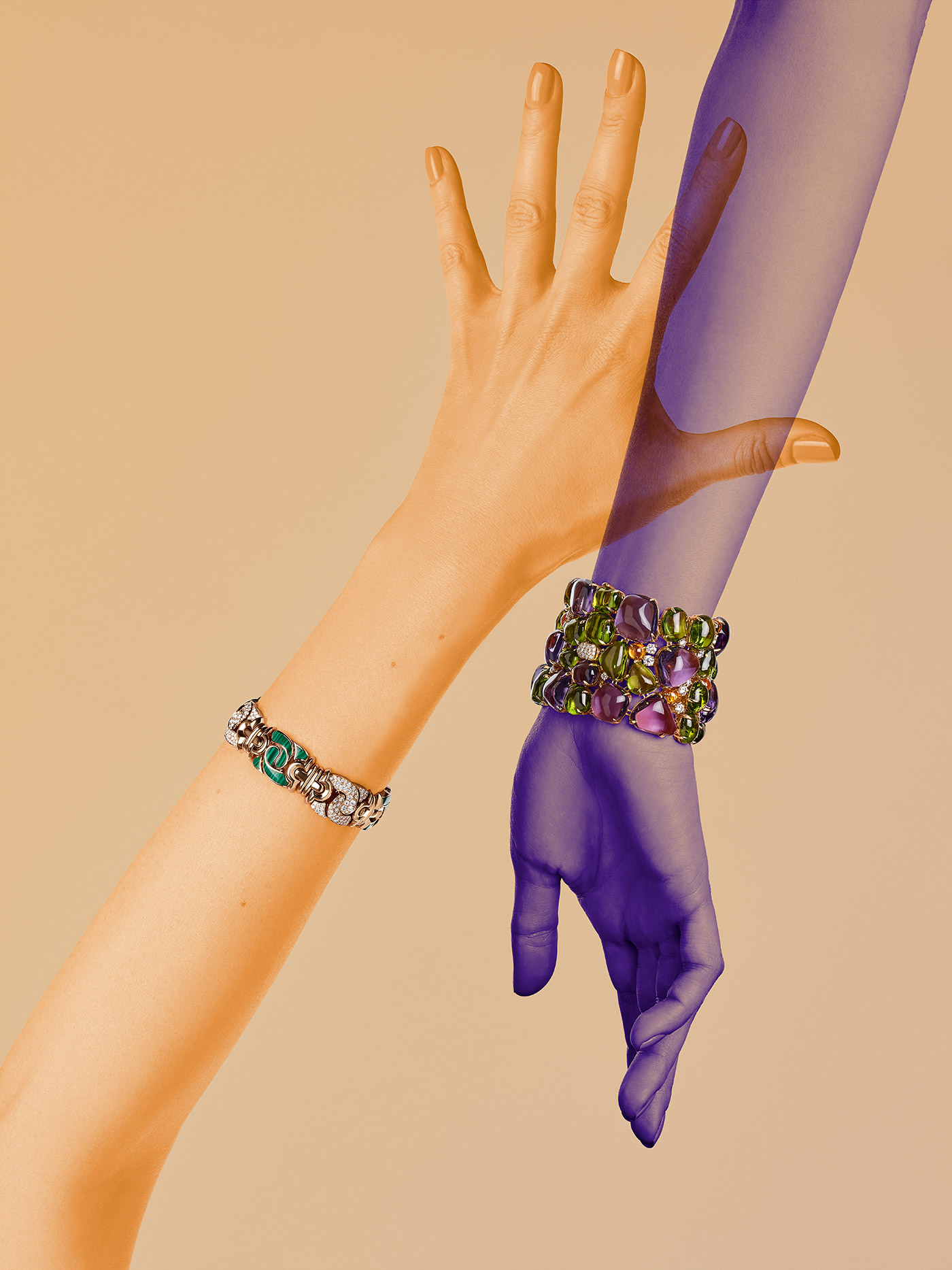 Bulgari bracelets in editorial by Katerina Perez and ReanArt