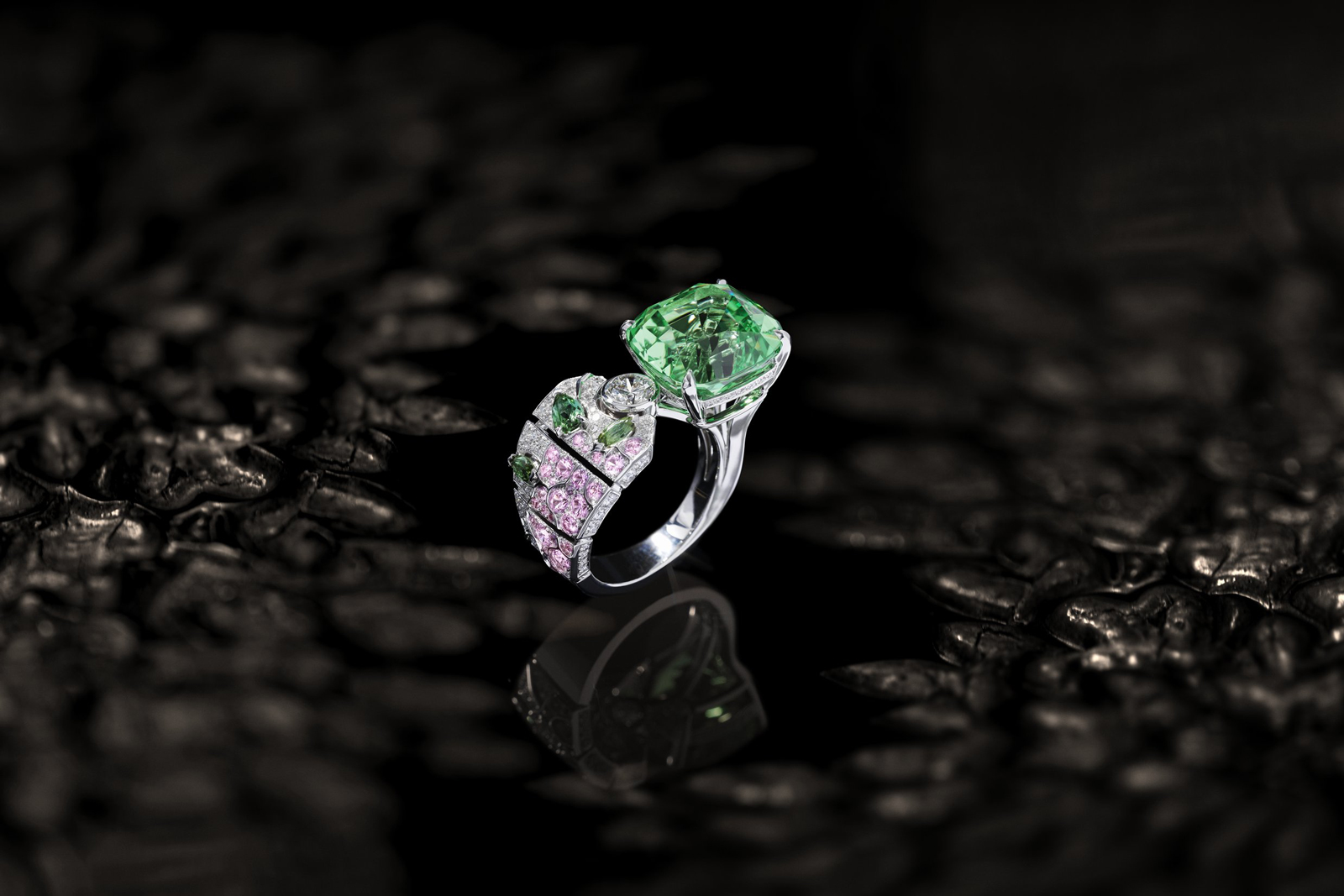 Chanel 'Bague Evocation Florale' ring from the 'Coromandel' collection with 12.05ct mint tsavorite, pink sapphires, diamonds and tourmalines