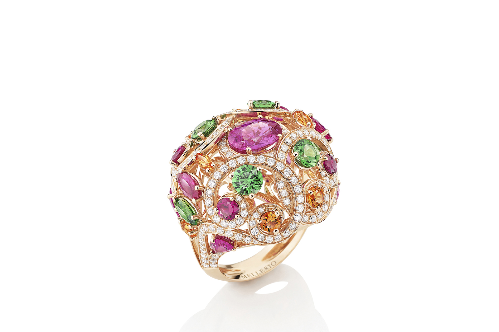 Mellerio dits Meller 'Millerfiora' ring from the 'Isola Bella' collection in pink sapphires, spessarite garnets, green tsavorites and diamonds