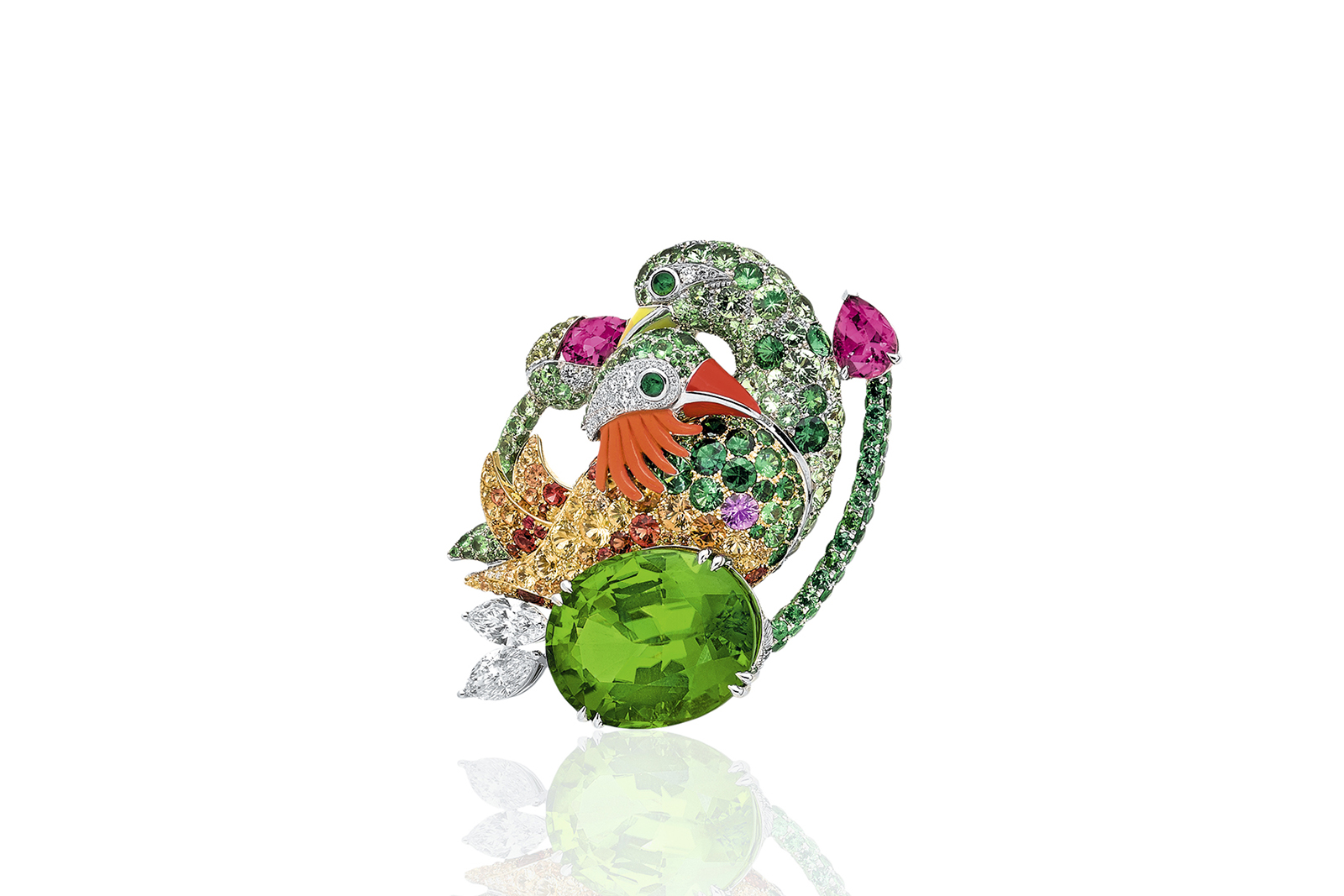 Anna Hu 'Mandarin Oriental Ducks' brooch with 26.13 ct peridot, carved pink coral, rubies, peridots, yellow, orange and violet sapphires