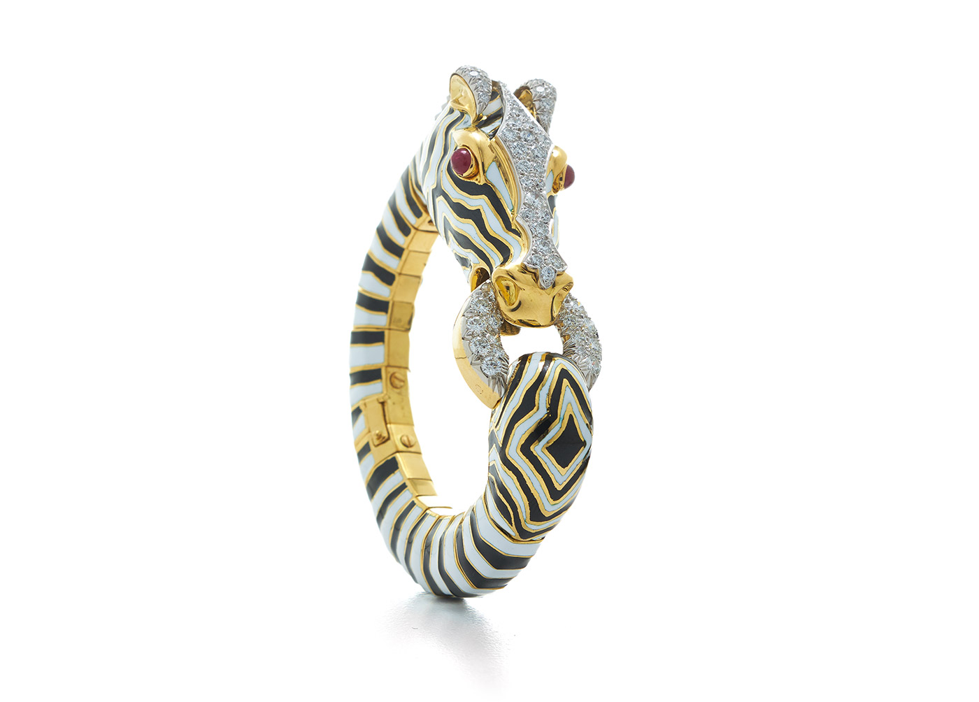 David Webb 'Zebra' bracelet with cabochon rubies, brilliant cut diamonds and enamel in 18k gold and platinum