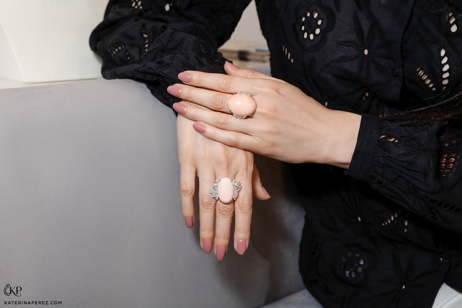 Assael rings in Angel Skin coral and diamonds
