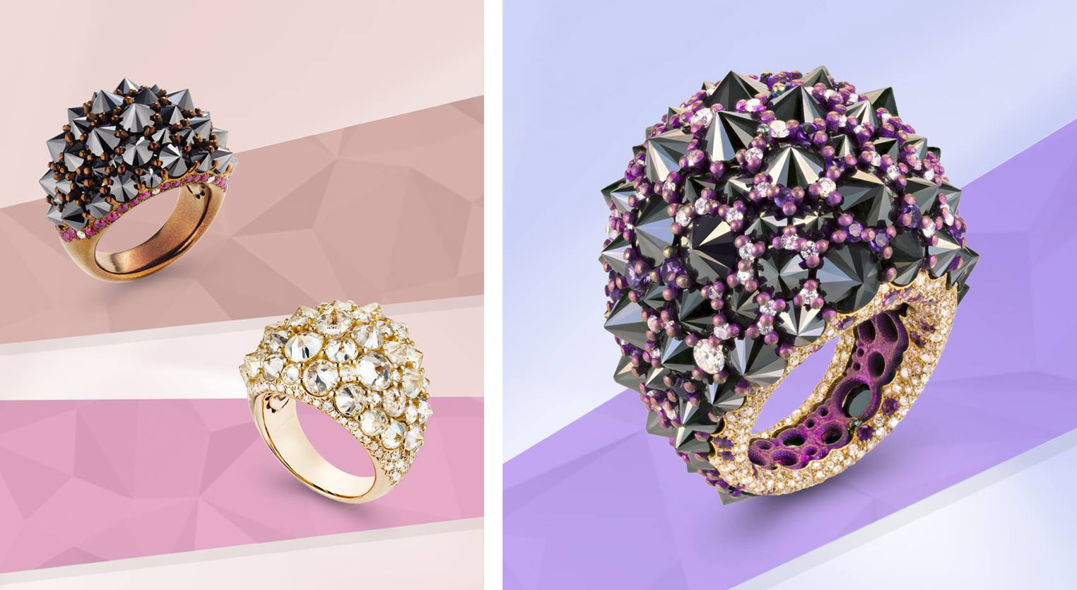 Mattioli 'Rêve_r' rings in titanium, with colourless and black diamonds, rubies, and rose gold with diamonds