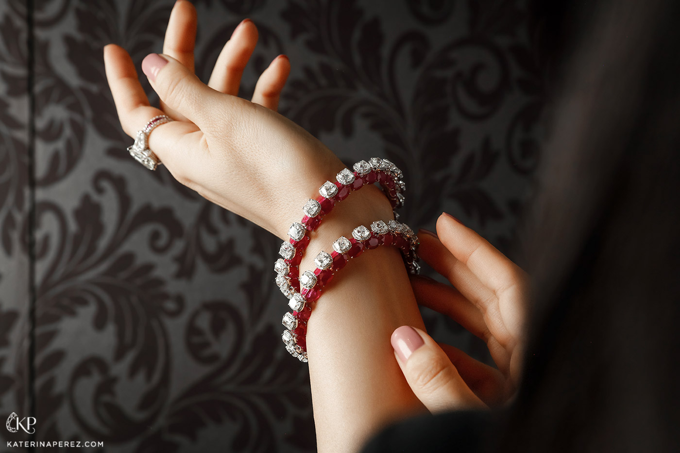 Kamyen bangles in rubies and diamonds, with diamond ring