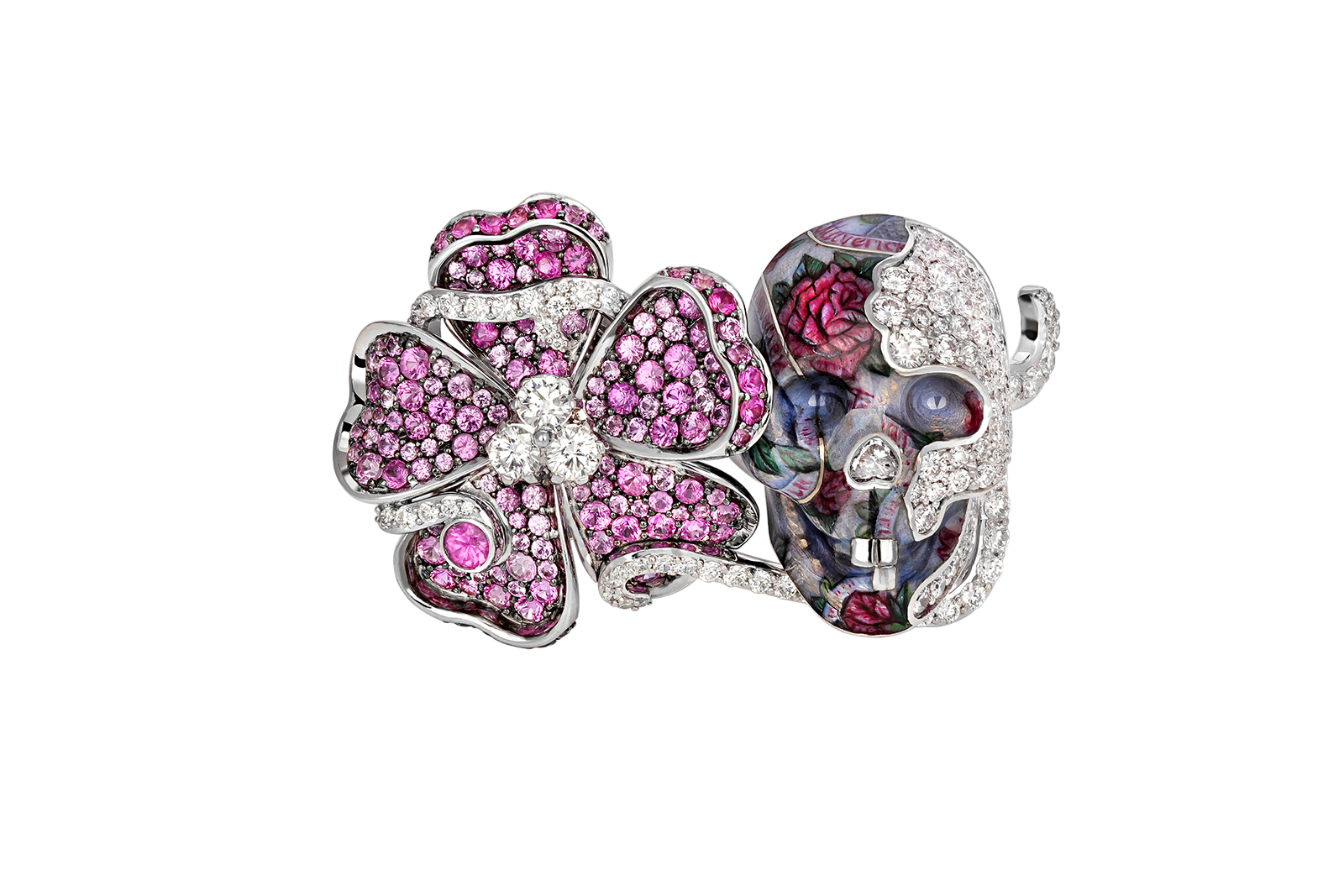 "Liza Borzaya ring with diamonds, pink sapphires and enamel from ""Get Inked!"" collection"