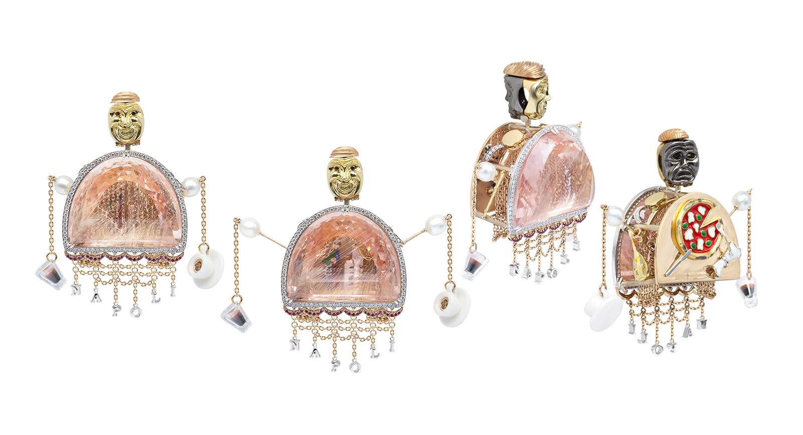 Alessio Boschi's 'Bella Napoli' pendant, with fancy cut morganite, diamonds, keshi pearls, rubies and enamel details