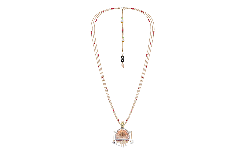 Alessio Boschi's 'Bella Napoli' pendant necklace, with fancy cut morganite, diamonds, keshi pearls, rubies and enamel details in 18k yellow gold, and rhodium plated white gold