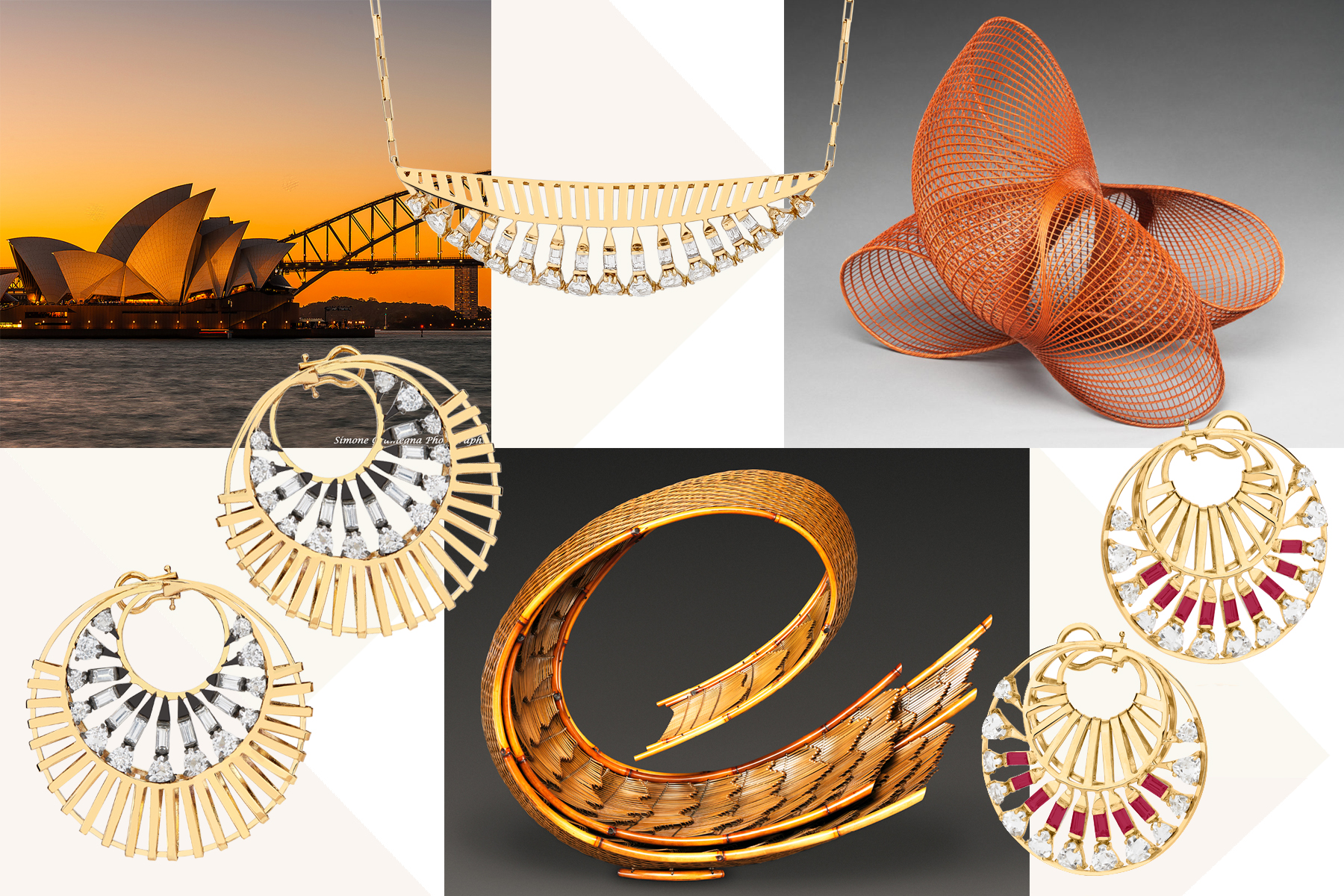 Jewellery from Carol Kauffmann's 'Trapeze' collection, and its inspirations