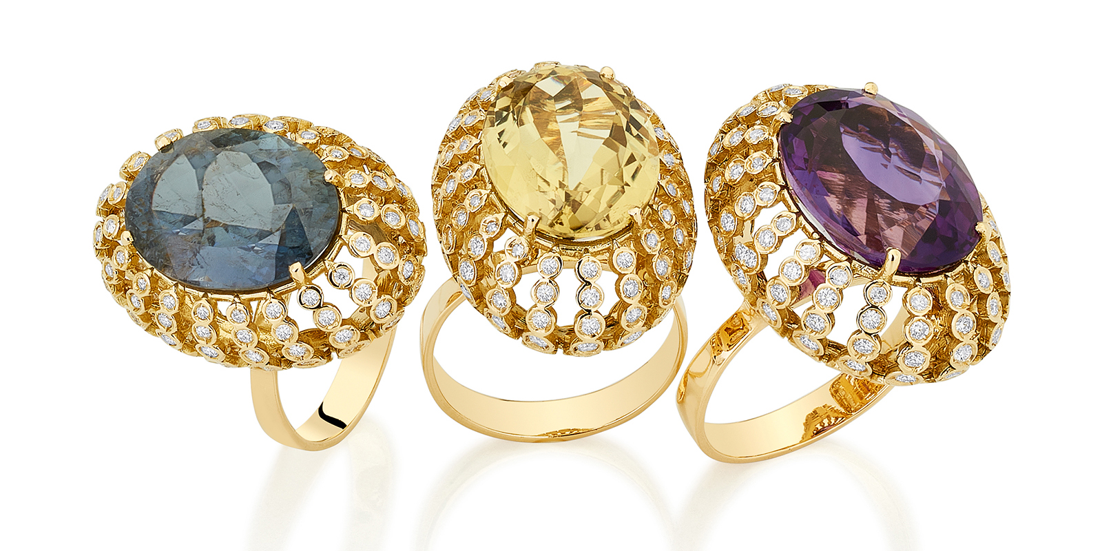 Carol Kauffmann 'Petit Pois' rings, with grey tourmaline, yellow beryl and amethyst respectively, all in diamonds and 18k yellow gold