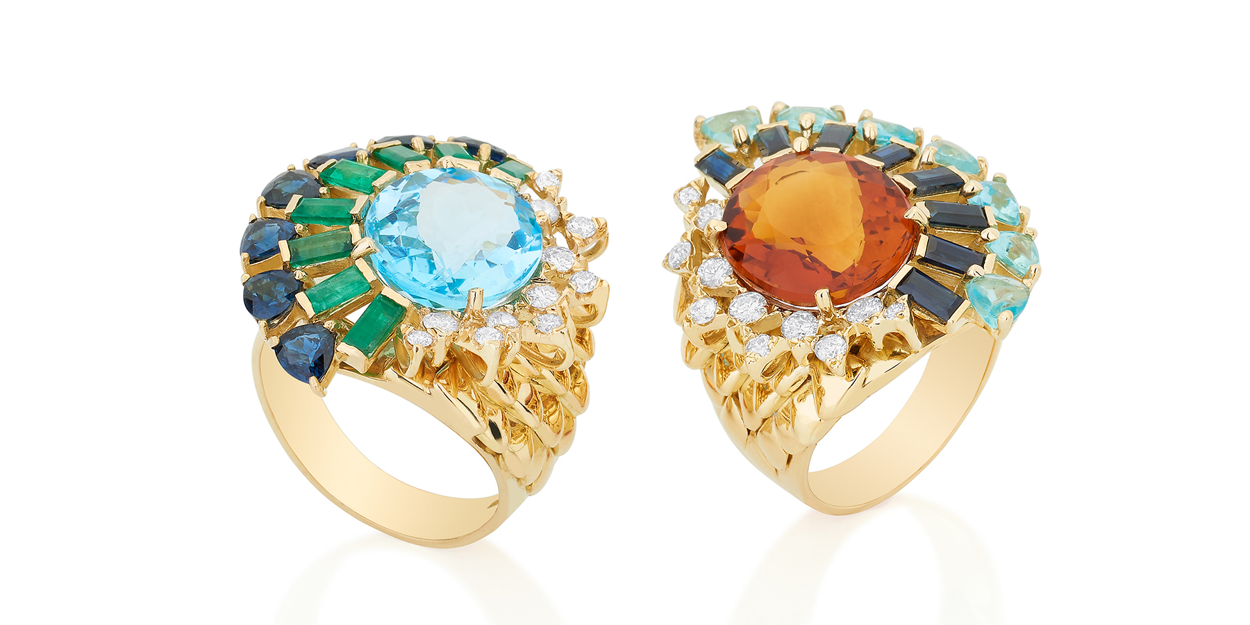 Carol Kauffmann 'Magic Scales' rings with (left) topaz, emeralds, sapphires and diamonds, and (right) citrine, sapphires, apatite and diamonds, both in 18k yellow gold