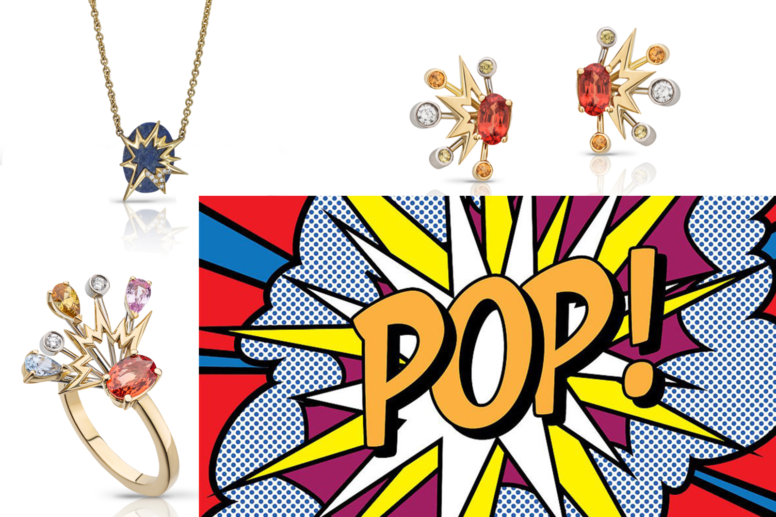Le Ster (clockwise from bottom left) 'Zadie' ring with diamonds and fancy coloured sapphires in 18K yellow gold and platinum, 'Frida' pendant with diamonds and lapis lazuli, and 'Zadie' earrings with diamonds and fancy coloured sapphires in 18K yellow gold and platinum, with pop art by Roy Lichenstein