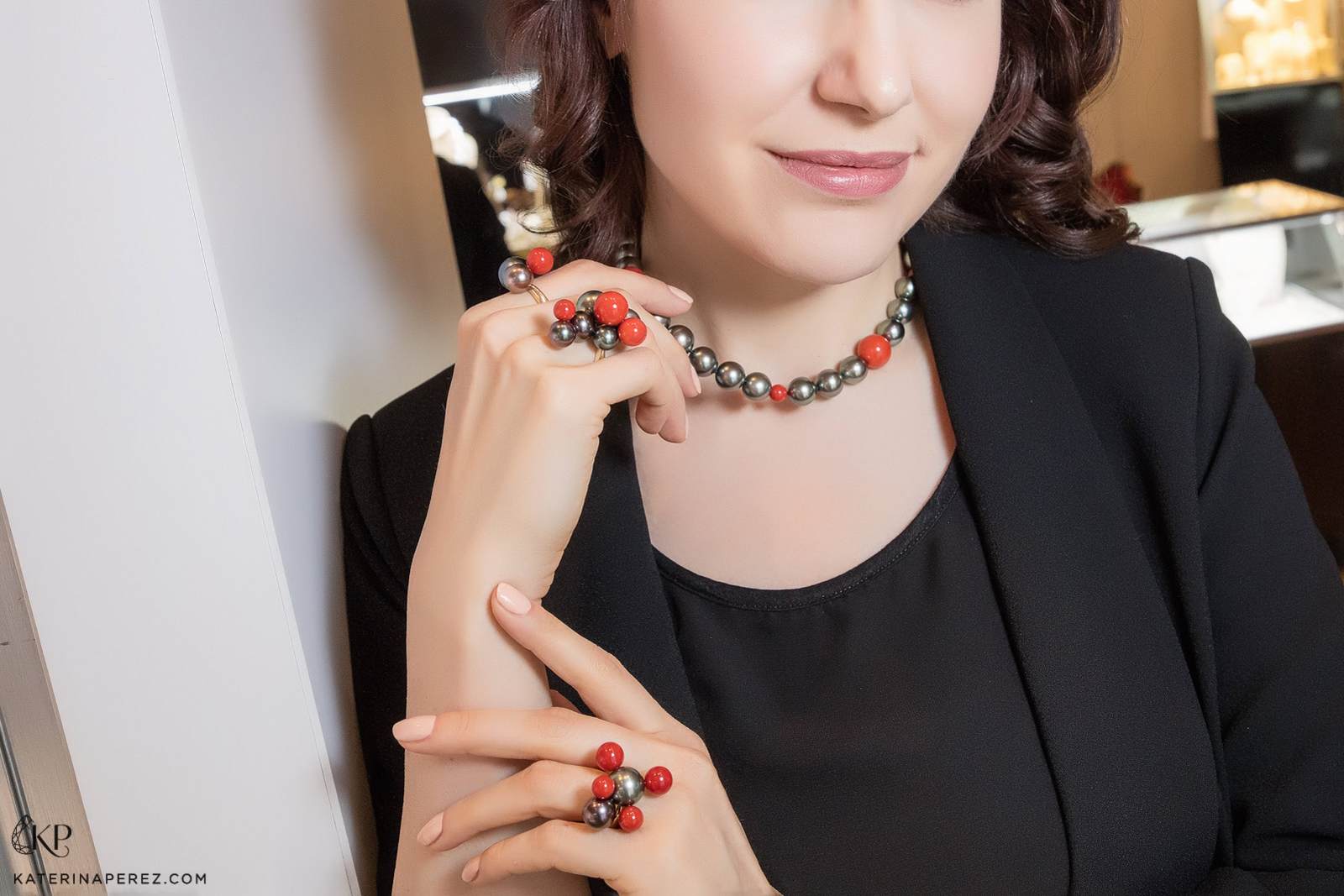 Assael 'Bubbles' collection rings and necklace by Sean Gilson with Tahitian pearls and coral