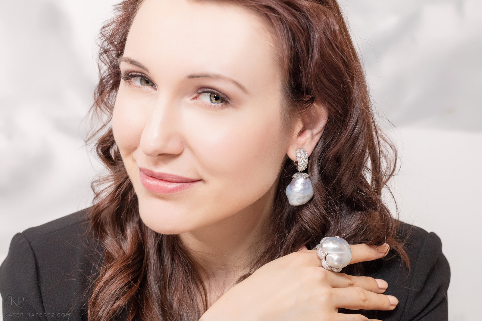 Katerina Perez in Assael baroque pearl and diamond earrings and ring