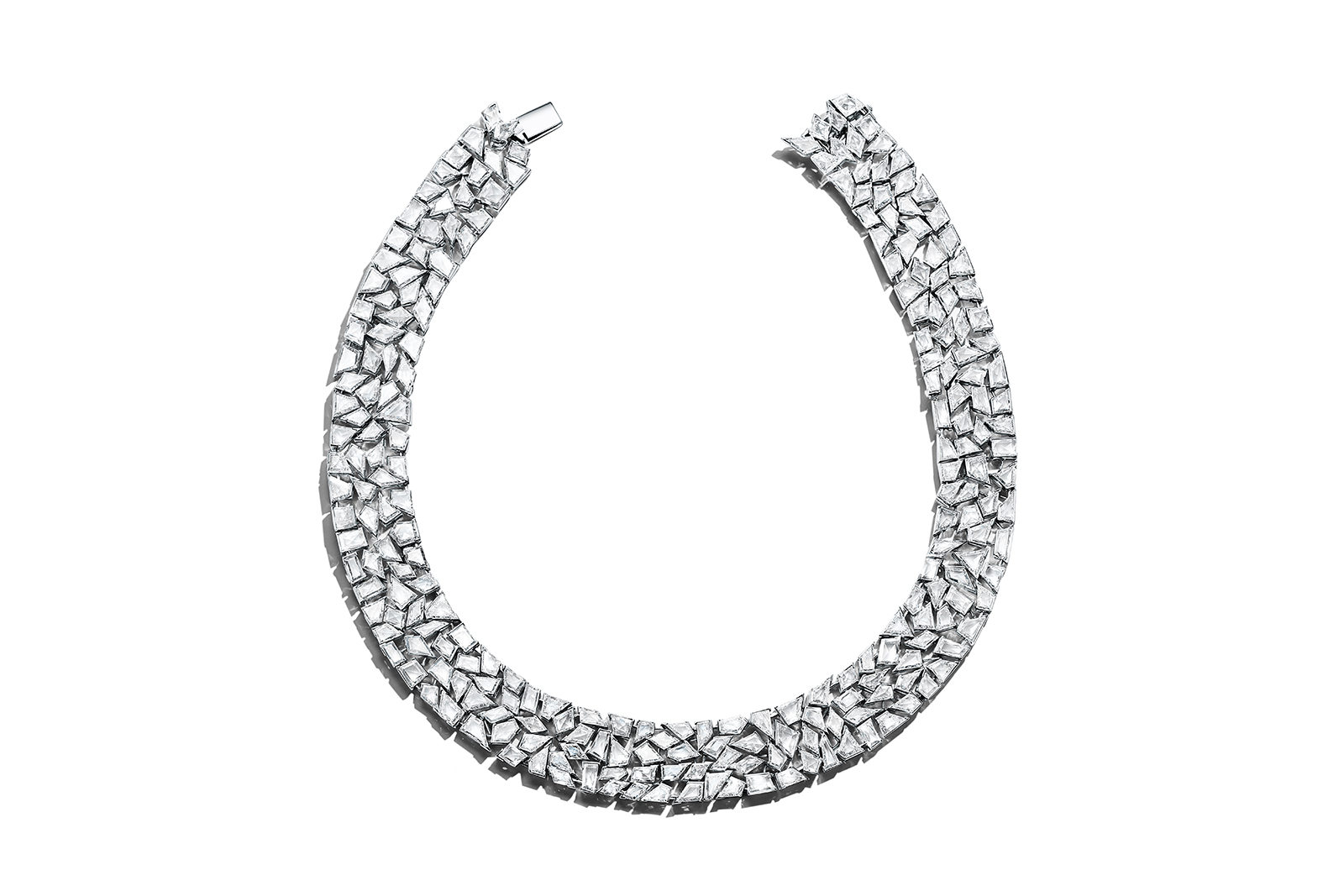 Tiffany & Co. Blue Book 2018 collection necklace in platinum with uniquely cut diamonds, over 92 total carats