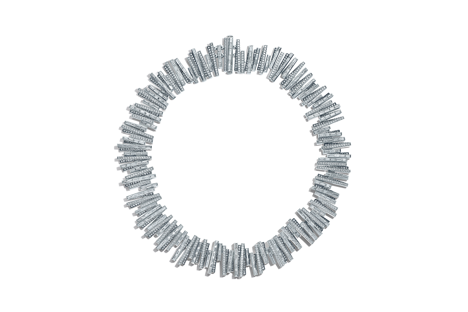 Tiffany & Co. Blue Book 2018 necklace in platinum with baguette and round brilliant white, rare fancy blue grey and grey diamonds, over 63 total carats