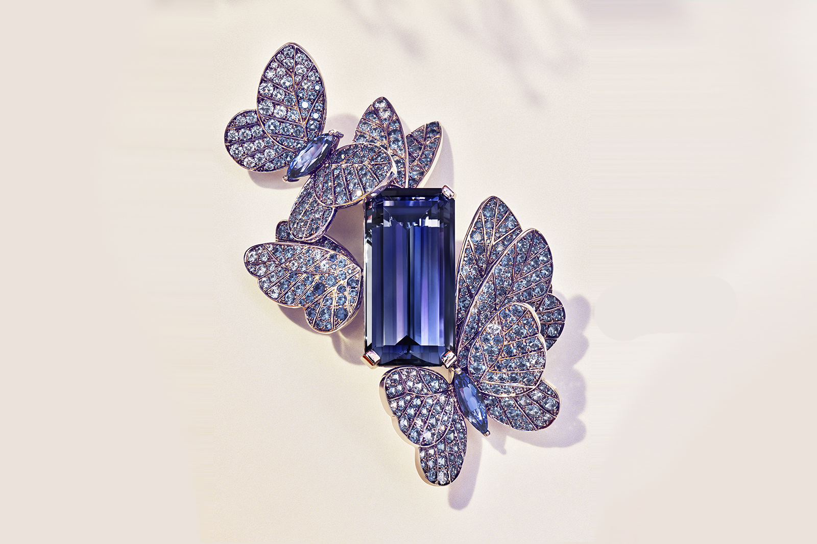 Tiffany & Co. Blue Book 2018 collection brooch in platinum with an emerald-cut tanzanite of over 27 carats, round and marquise sapphires, over five total carats, and round brilliant diamonds