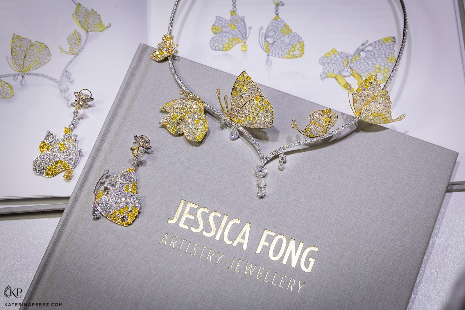 A selection of Jessica Fong 'La Floraison' jewellery with fancy yellow and colourless diamonds in 18k white and yellow gold