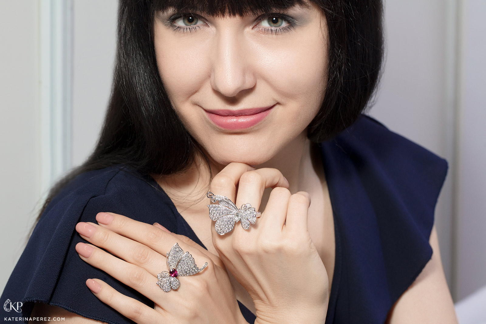 Katerina Perez in Jessica Fong butterfly rings with diamonds and rubellite in 18k white gold
