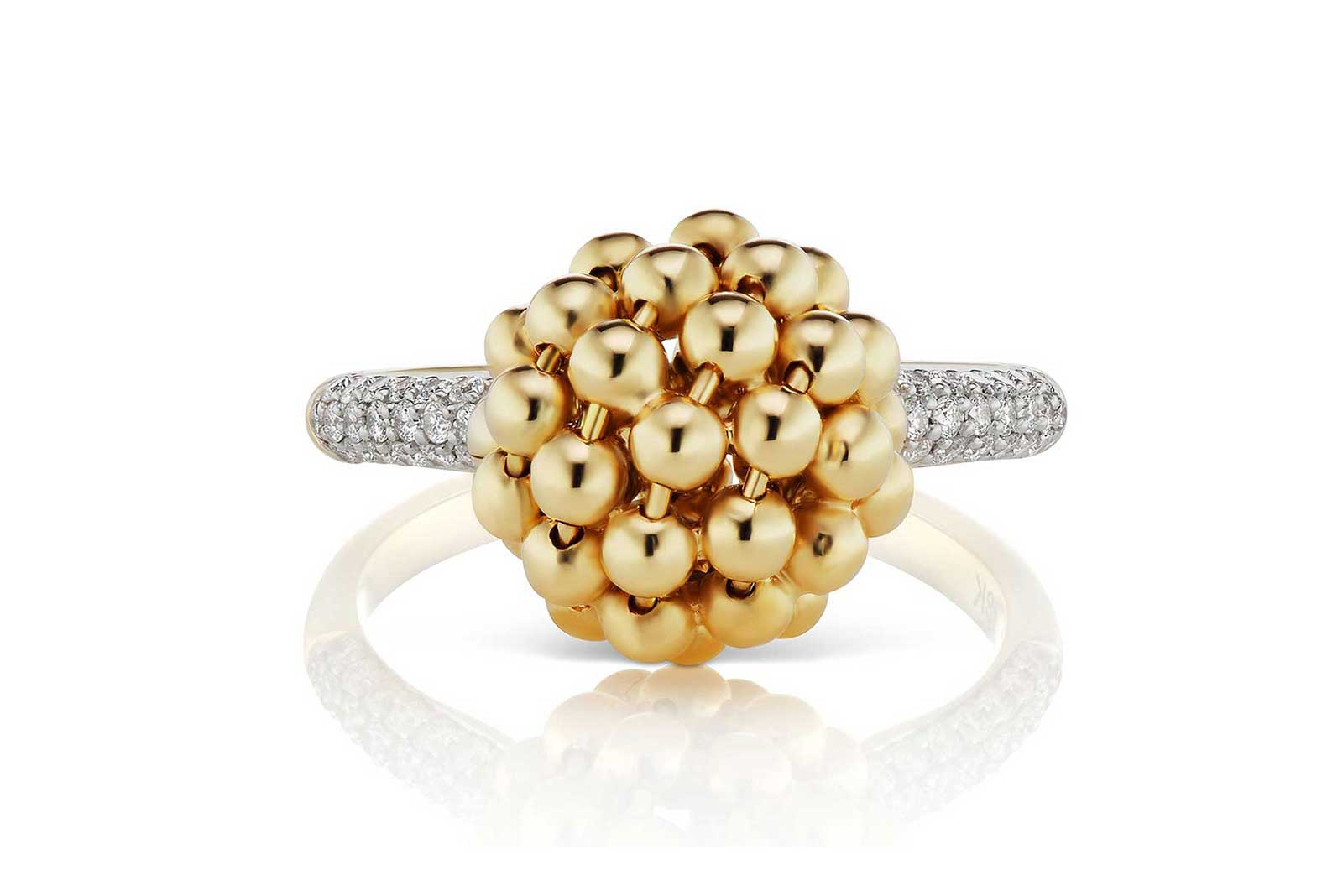 Maria Canale 'Flapper' collection ring with diamonds in 18k yellow and white gold