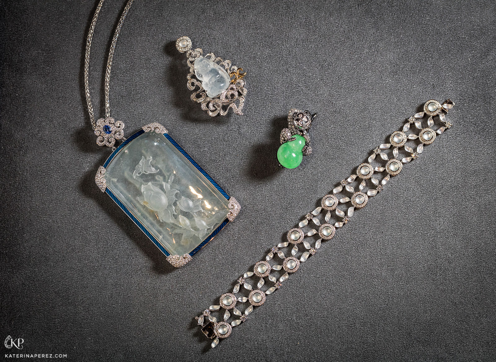 A selection of DAWN jewellery with jadeite, gemstones, diamonds, intaglio icy jadeite and enamel