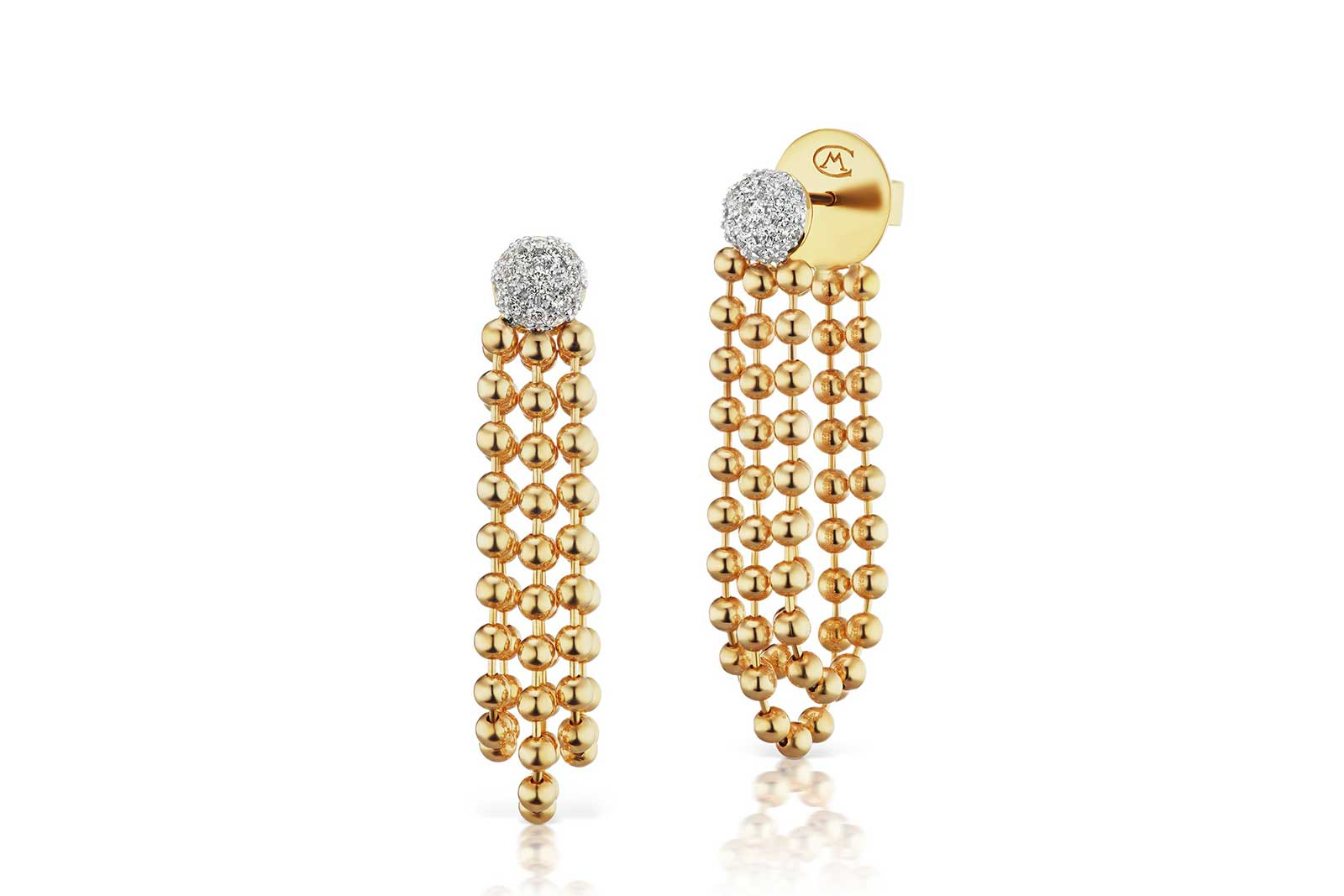Maria Canale 'Flapper' collection earrings with diamonds in 18k yellow gold