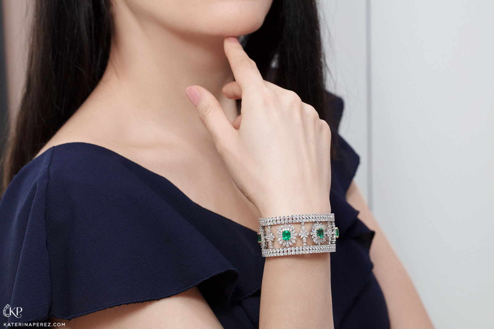 Sunita Nahata 'Regalia' collection bracelet with 8.52ct Zambian emeralds and 35.53ct diamonds in 18k white gold