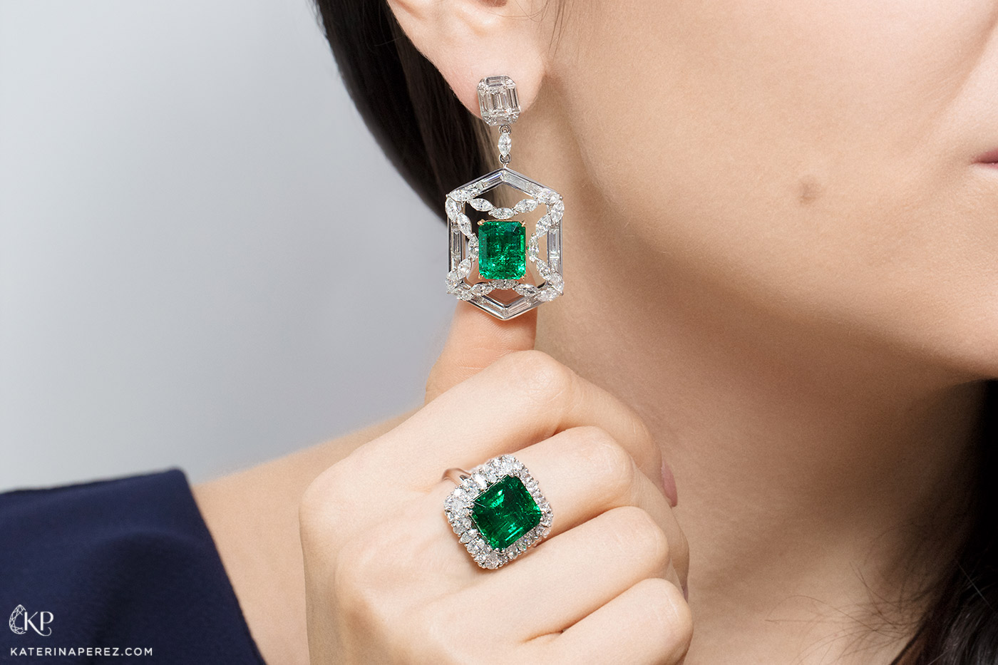 Sunita Nahata 'Regalia' collection 'Princess Priyashi' earring with 10.26 ct Colombian emerald and 10.48 ct diamonds, and ring with 8.95ct Zambian emerald and 1.72ct diamonds, both in 18k white gold