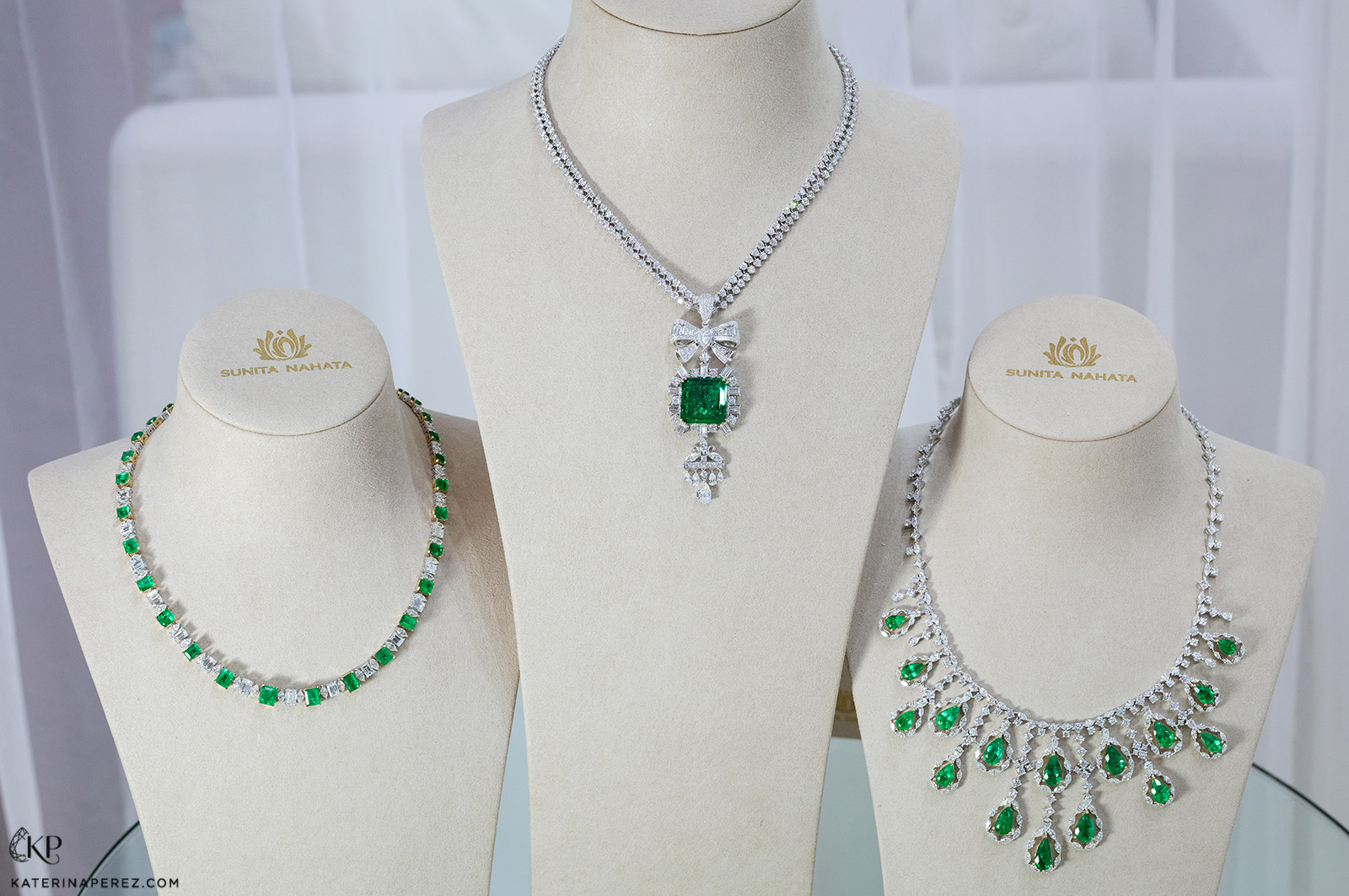 Sunita Nahata 'Regalia' collection (from left to right) single strand necklace with 19.70ct Colombian emeralds and 16.20ct diamonds, 'Star' necklace with 22.31ct Colombian Muzo emerald and 9.53ct diamonds, and long drop necklace with 27.16ct Colombian emeralds and 32.21ct diamonds, all in 18k white gold