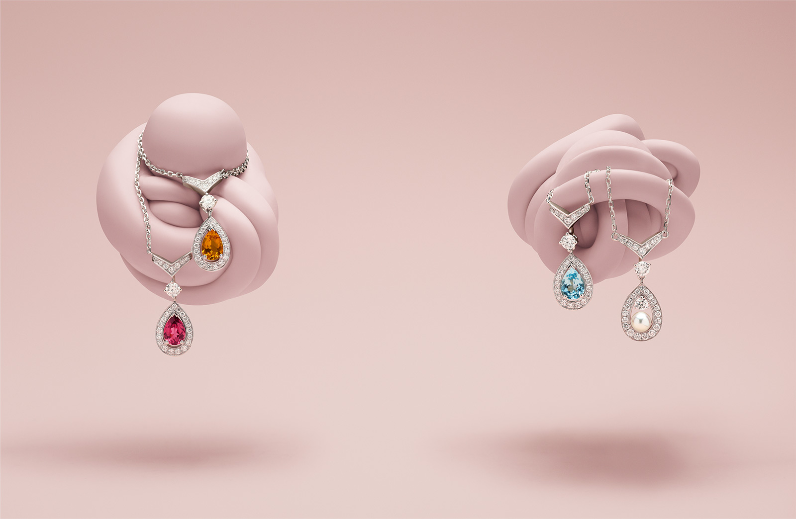 Chaumet 'Joséphine Aigrette' necklaces with 0.60ct of; rhodolite garnet, citrine, and aquamarine, with pearl and diamonds