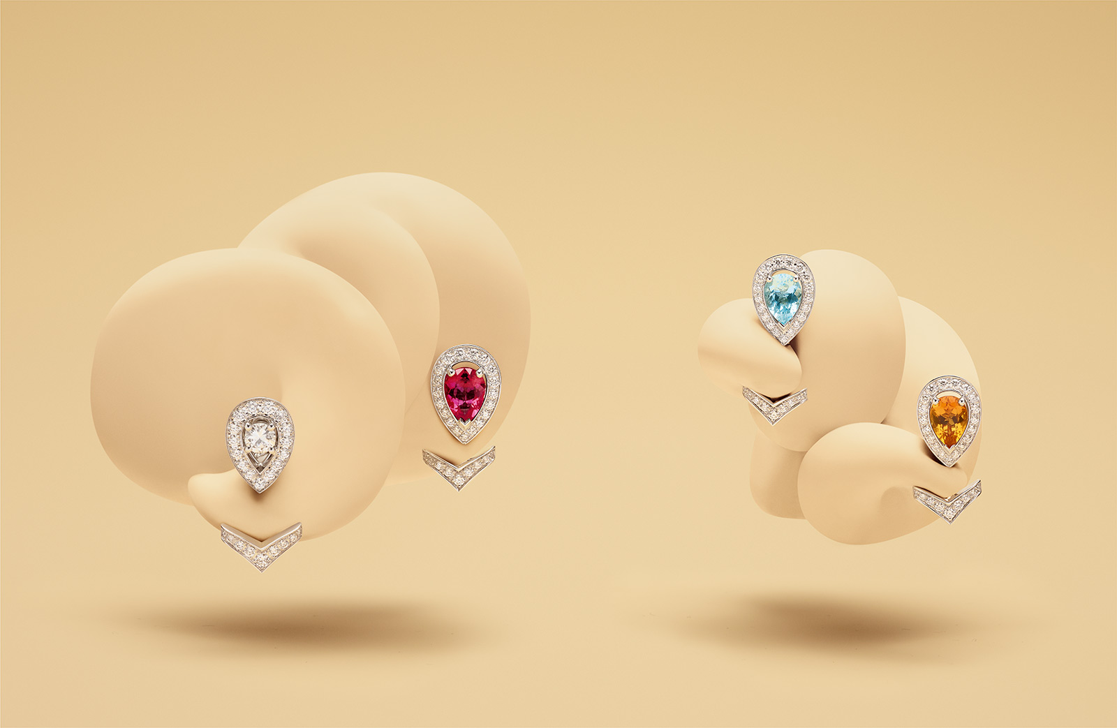 Chaumet 'Joséphine Aigrette' earrings and jackets with 0.60ct of; rhodolite garnet, aquamarine and citrine, all with diamonds