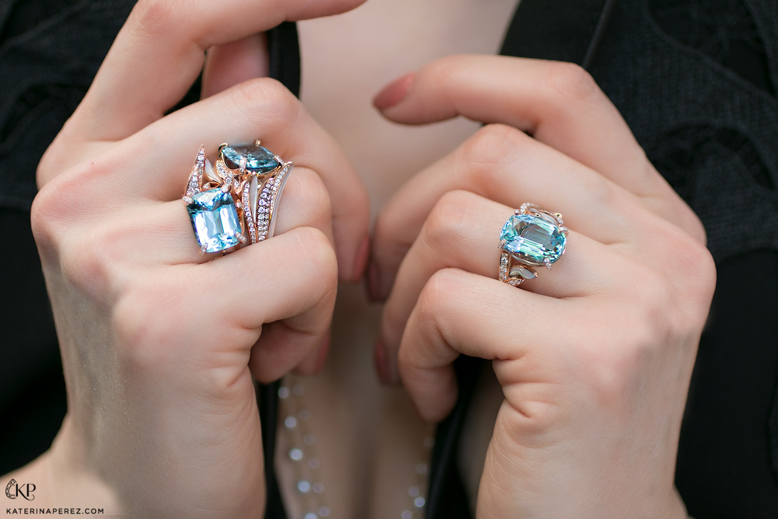 Simone Jewels rings with Santa Maria aquamarines, diamonds and mother of pearl in 18k rose gold