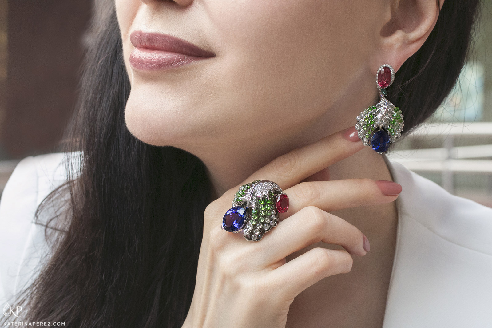 Moiseikin 'Firebird' ring and earrings with Waltzing Brilliance™ tanzanite, spinel, demantoid garnets, sapphires and diamonds