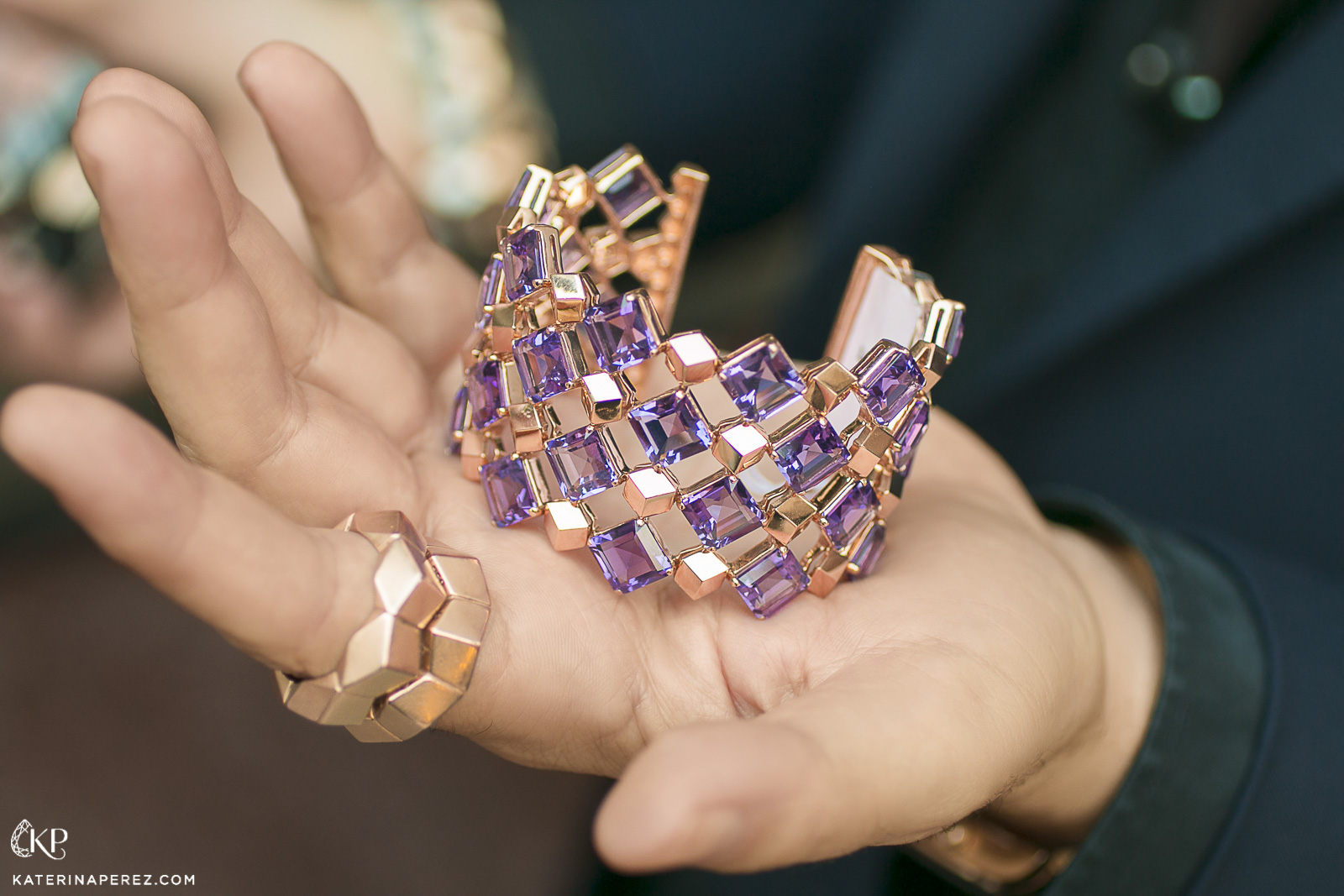 Paolo Costagli 'Very PC' bracelet with 56ct of amethysts and rings, both in 18k rose gold