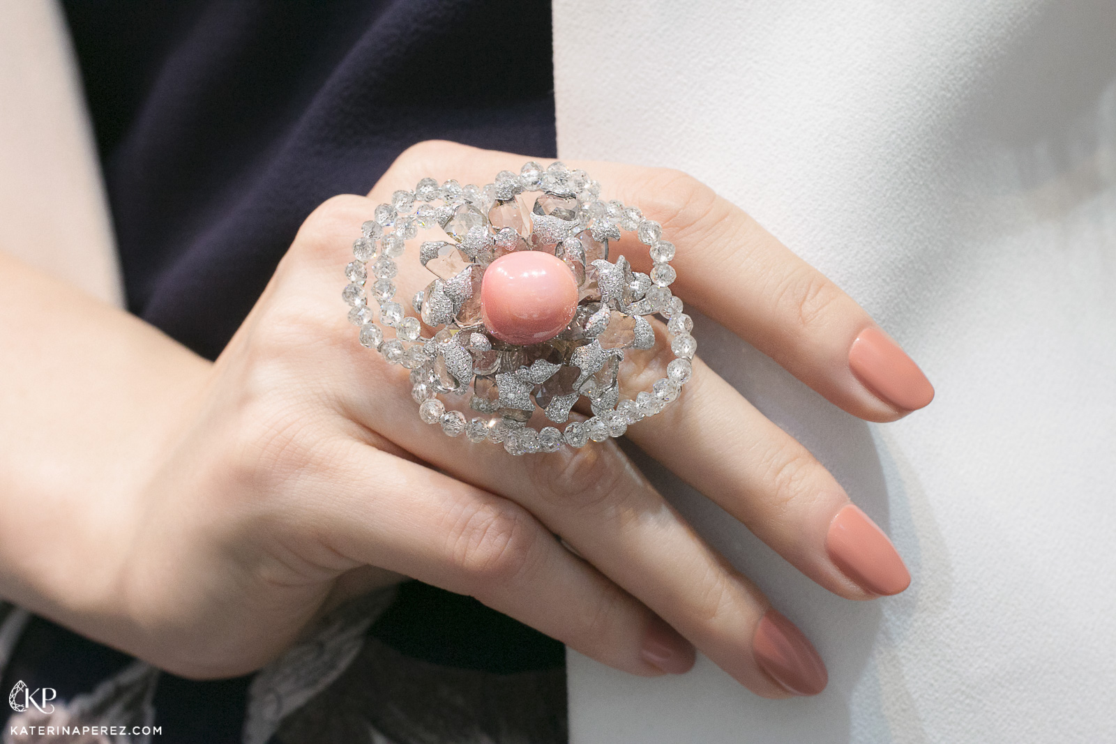 Karen Suen conch pearl and diamond ring