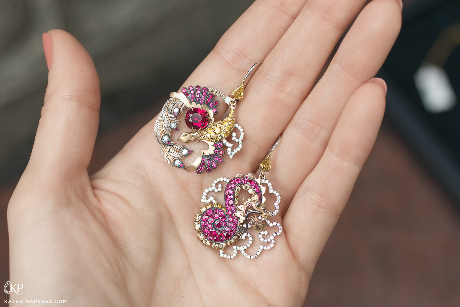 David Michael earrings with rubies, yellow diamonds and colourless diamonds in 18k yellow and black gold