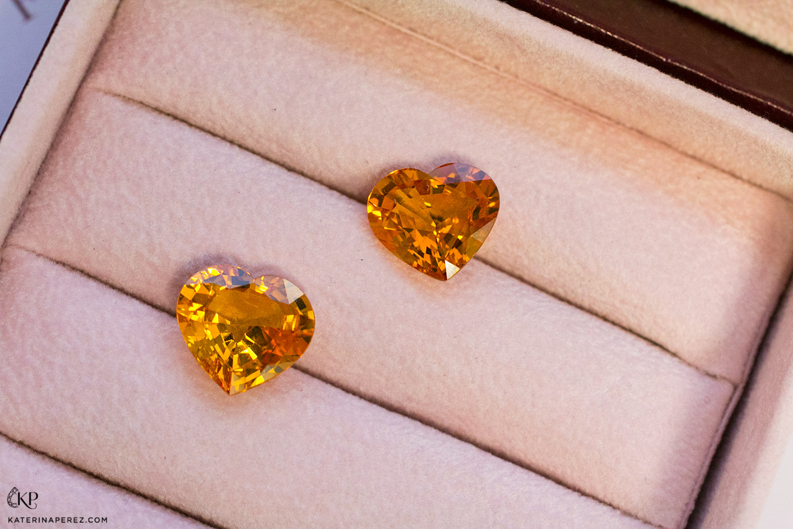 Haruni Fine Gems total of 18.75ct heart-shaped orange sapphires