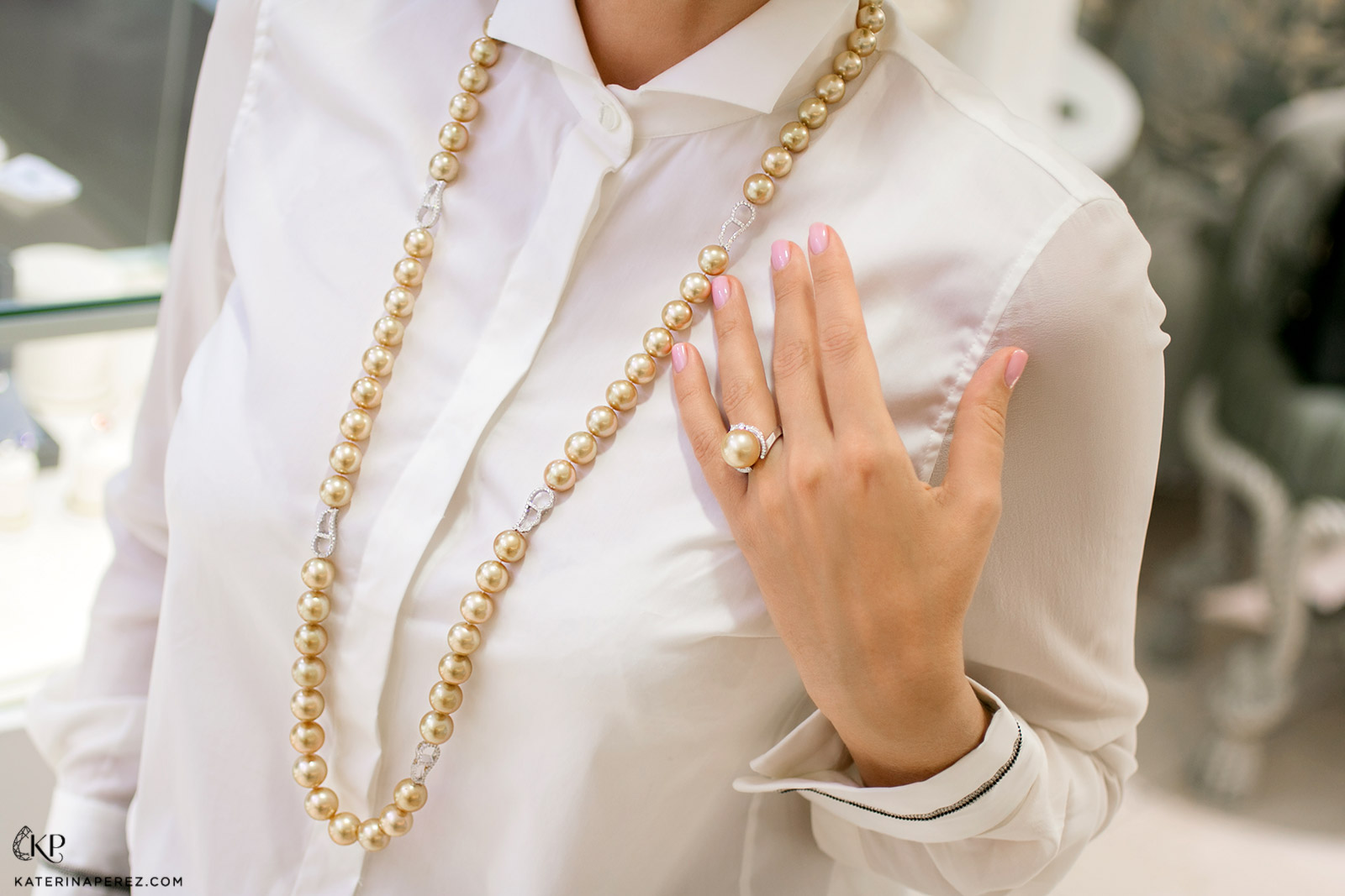 Ksenia Podnebesnaya sautoir necklace and ring with South Sea pearls and diamonds
