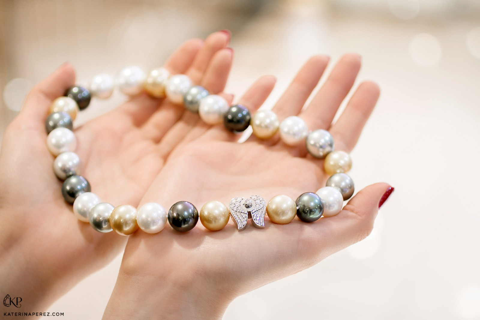 Ksenia Podnebesnaya necklace with South Sea and Tahitian pearls and diamond clasp