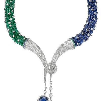 Avakian Cabochon Emerald Necklace with Sapphires and Diamonds