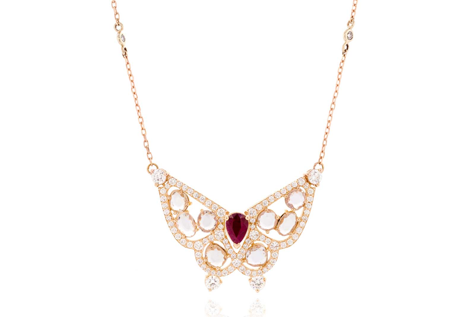 Alessa 'Butterfly' pendant from the 'Give Wings' collection with ruby, colourless rose and brilliant cut diamonds in 18k yellow gold