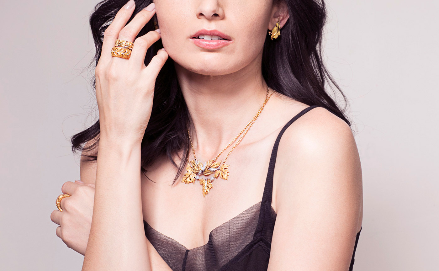 Buccellati earrings, rings and necklace from Court & Covet with diamonds in 18k yellow gold