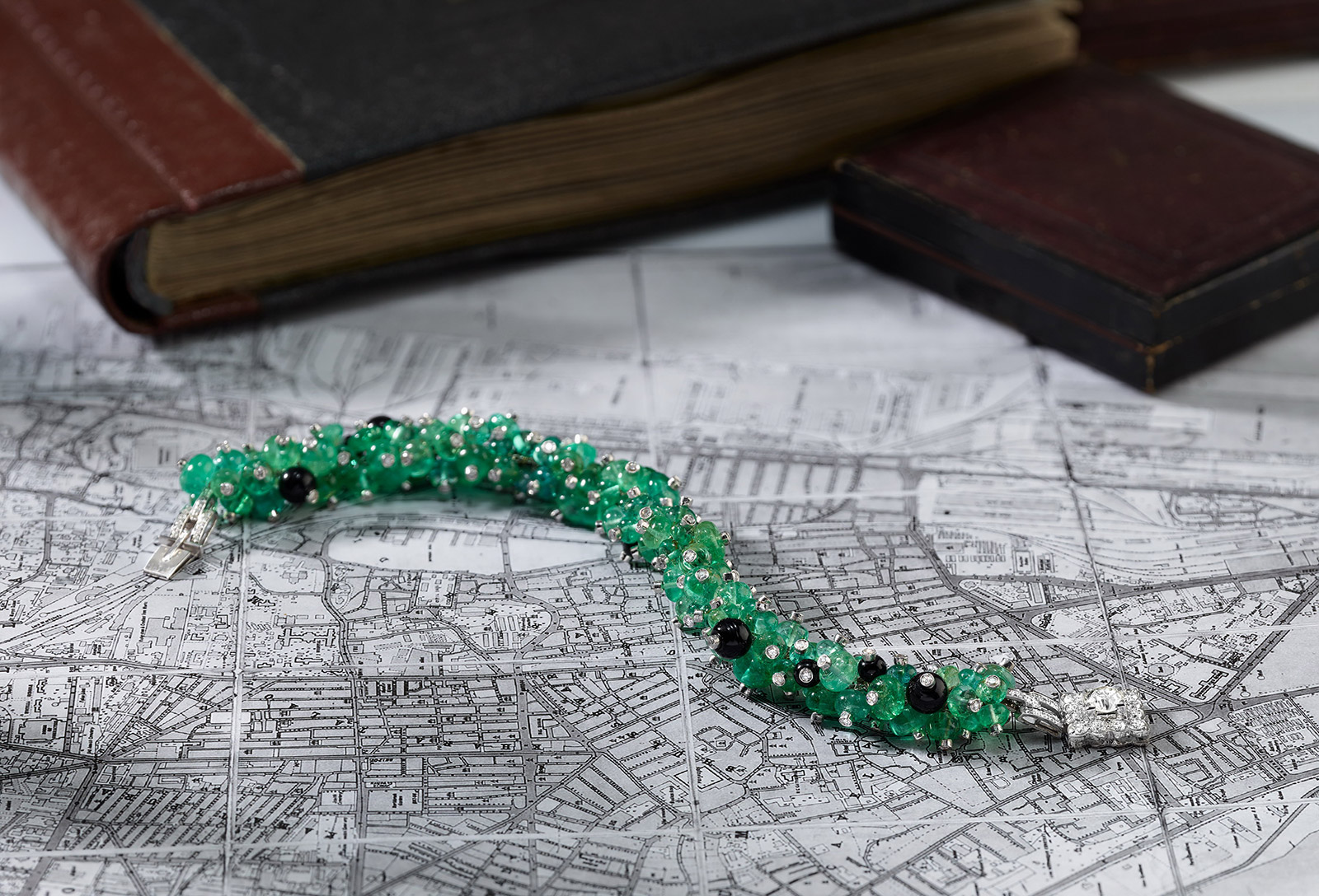 House of Umrao emerald, onyx and diamond bracelet