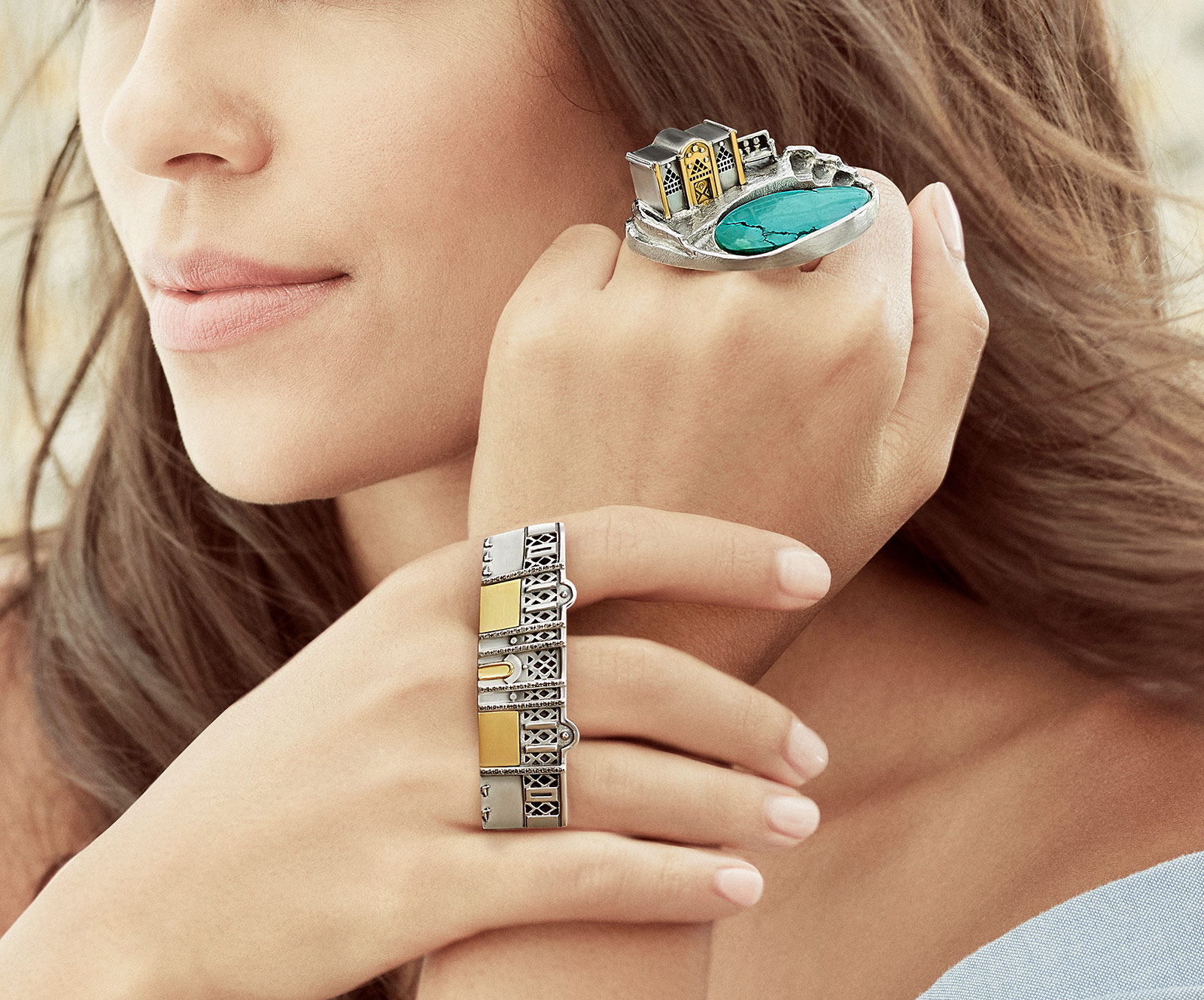 Azza Fahmy Nubia rings in yellow gold and silver