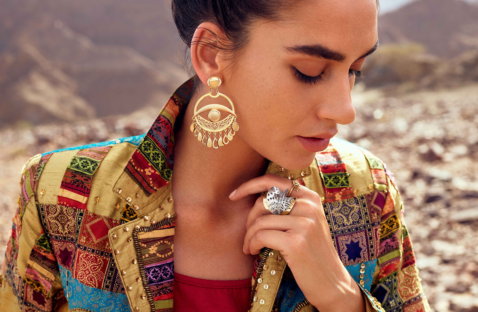 Earrings and a ring from The Gypsy collection by Azza Fahmy