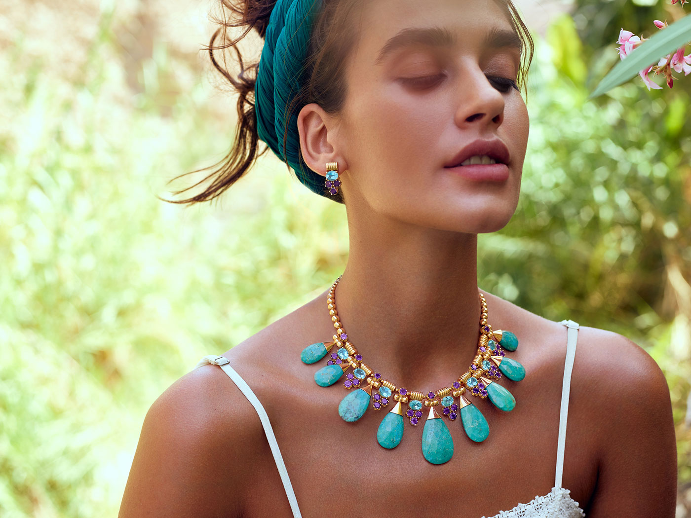 Azza Fahmy The Gypsy collection necklace with turquoise and earrings