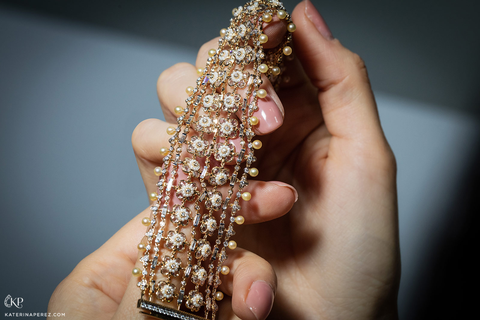 Moksh 'Empress' bracelet with 400 pearls and a total of more than 9ct diamonds in yellow gold