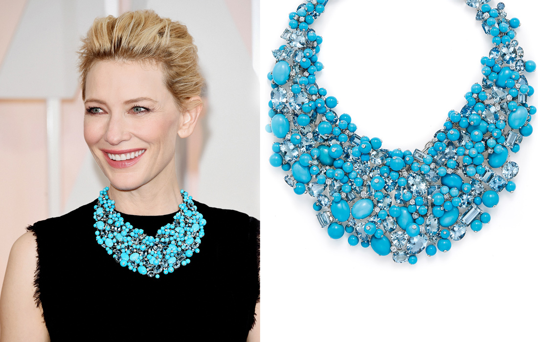 Cate Blanchett wearing a turquoise, aquamarine and diamond necklace from the 2015 Tiffany Blue Book