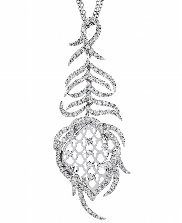 Sarah Ho Paradis Feather pendant in platinum and diamonds